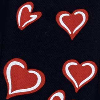 "1 3/8"" SATIN HEARTS,BLACK"
