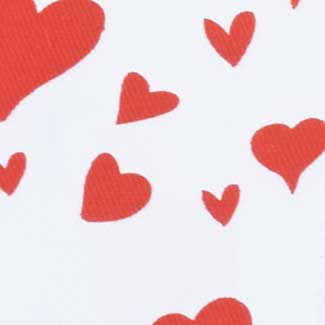 "1 3/8"" SATIN HEARTS,WHITE/RED"