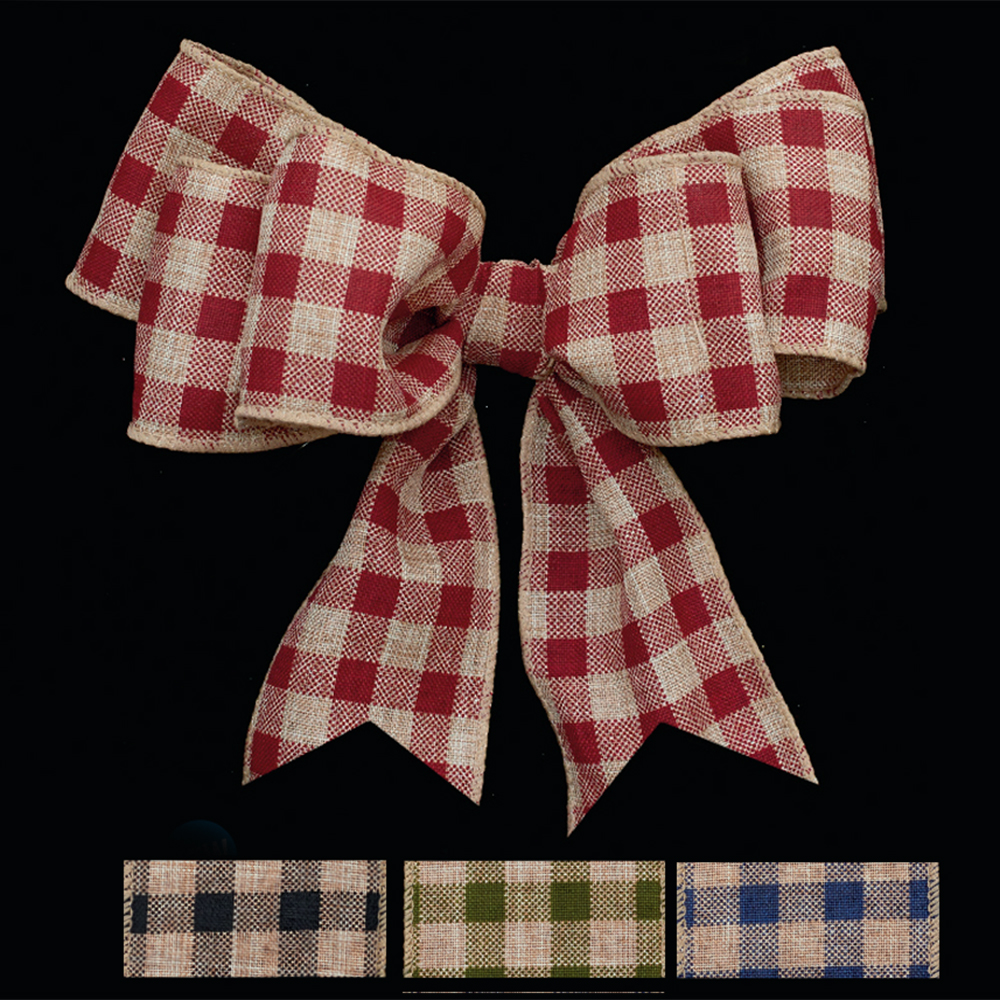 "2 1/2"" WIRED COUNTRY CHECK RIBBON"
