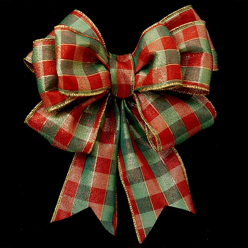 "2 1/2"" WIRED CHRISTMAS CHECK RIBBON"