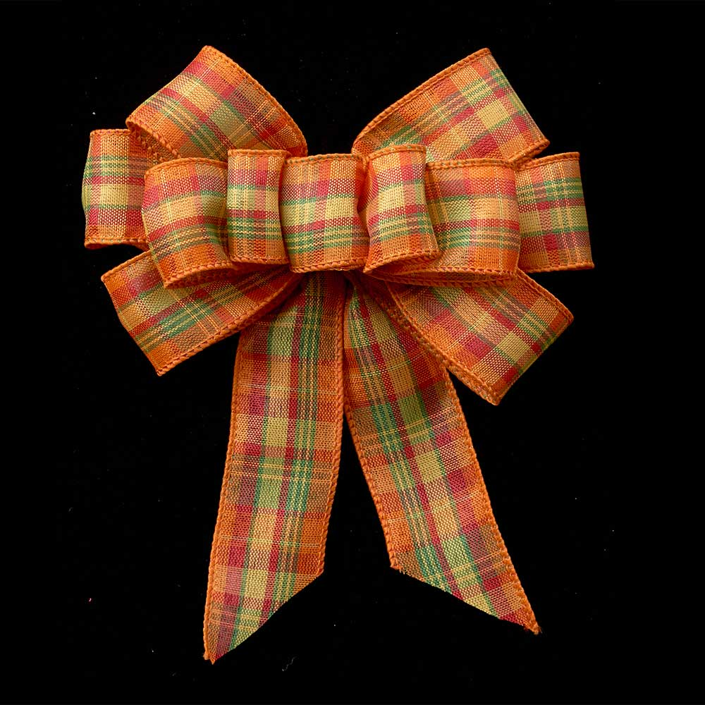 "1 3/8"" WIRED HARVEST PLAID RIBBON"