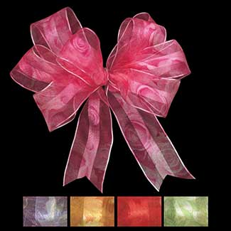 "1 3/8"" WIRED SHEER BOUQUET RIBBON"