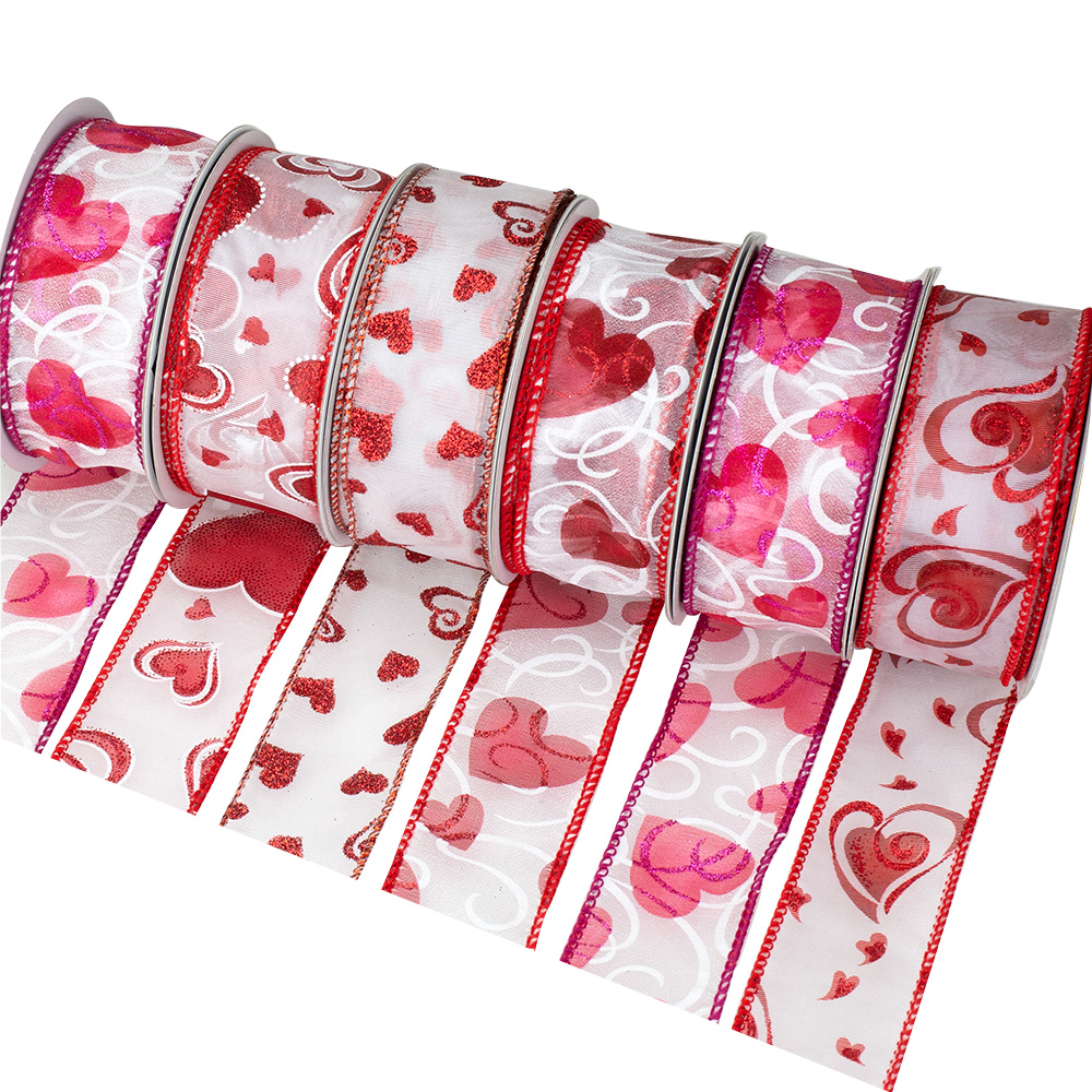 "1 3/8"" WIRED VALENTINE RIBBON ASST"