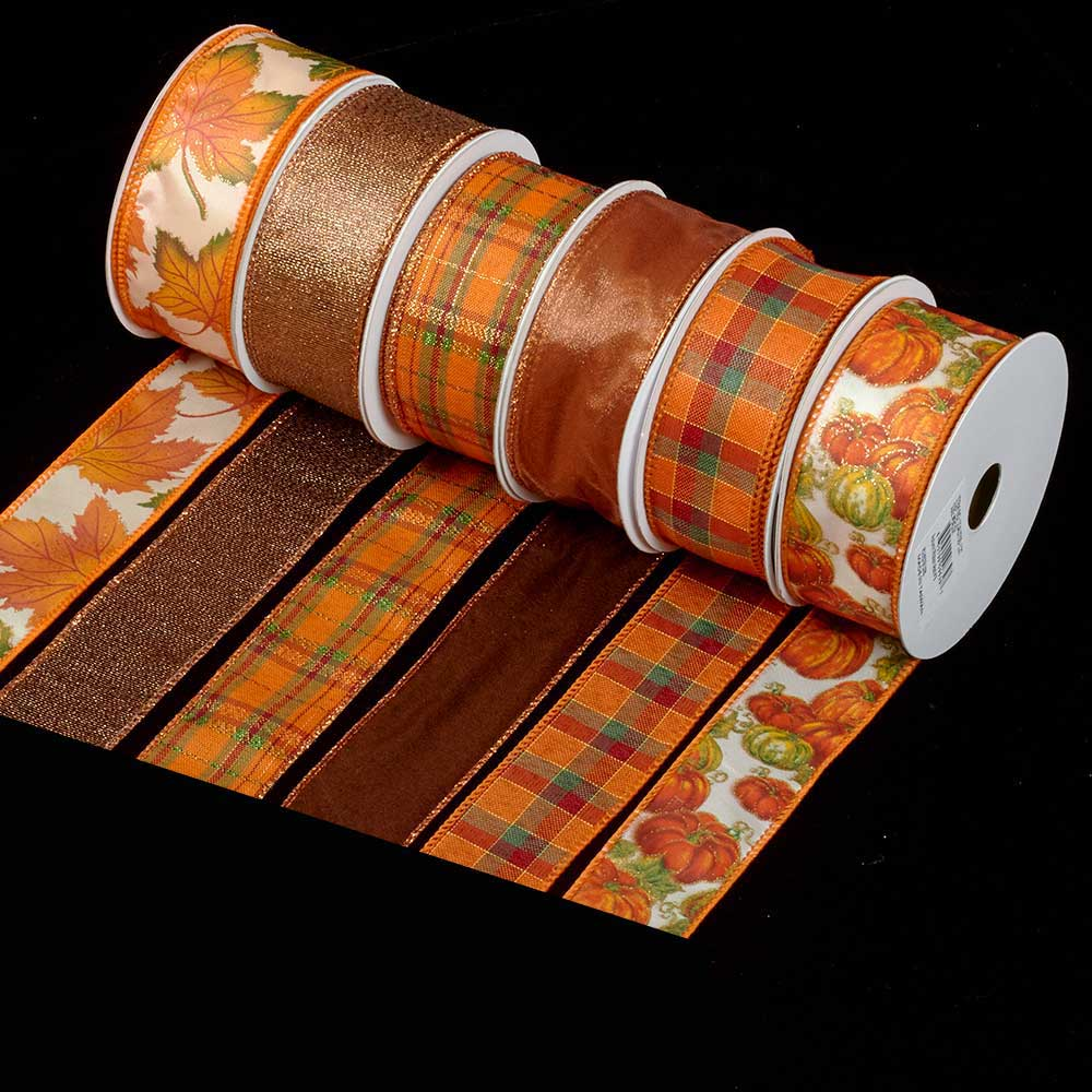 "1 3/8"" WIRED FALL ASSORTMENT RIBBON"