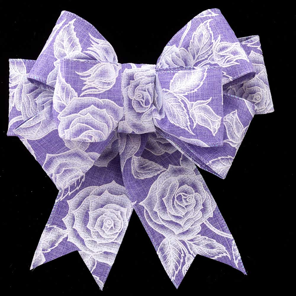 "2 1/2"" WIRED LINEN WHITE ROSES RIBBON"