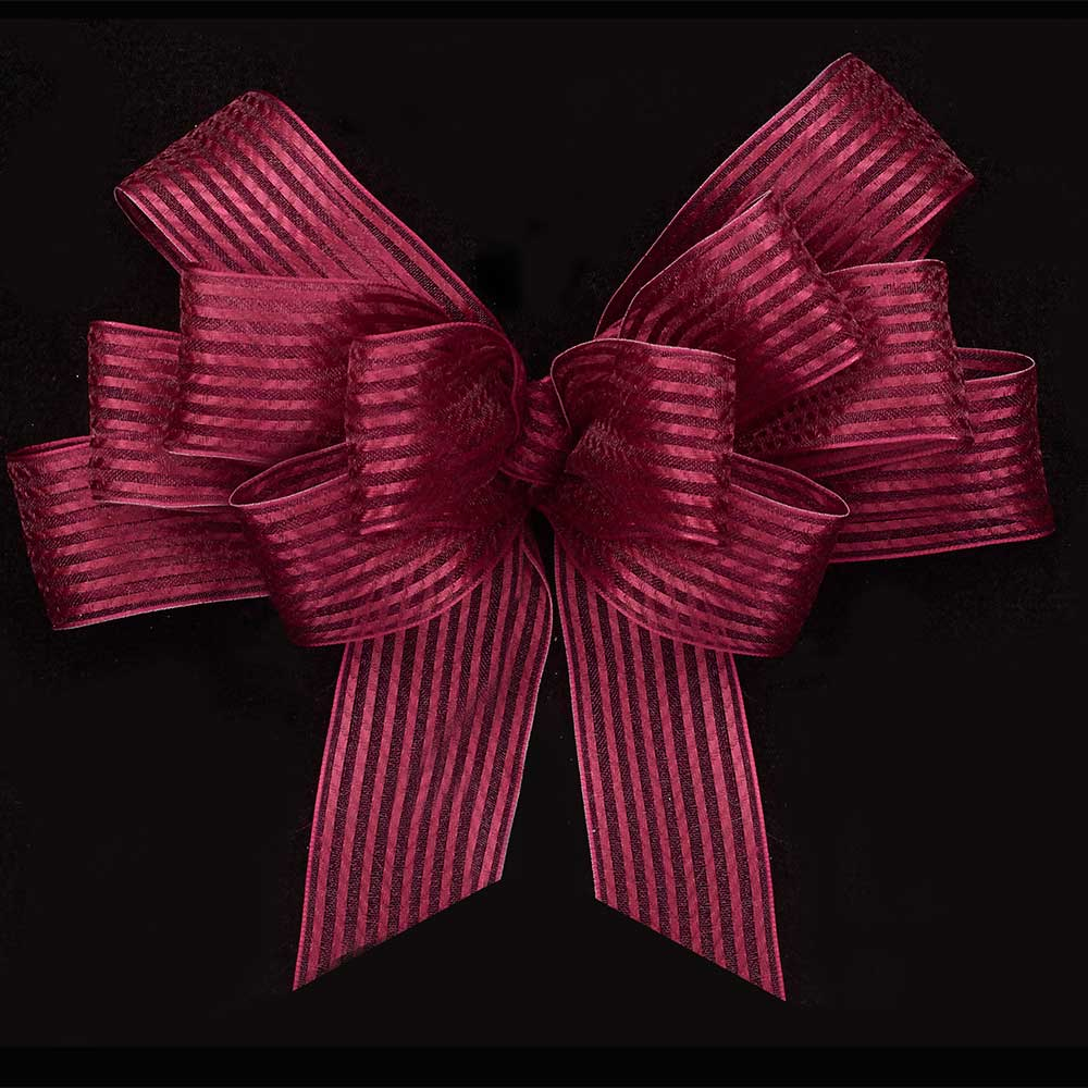 "1 3/8"" WIRED SHEER STRIPES RIBBON"