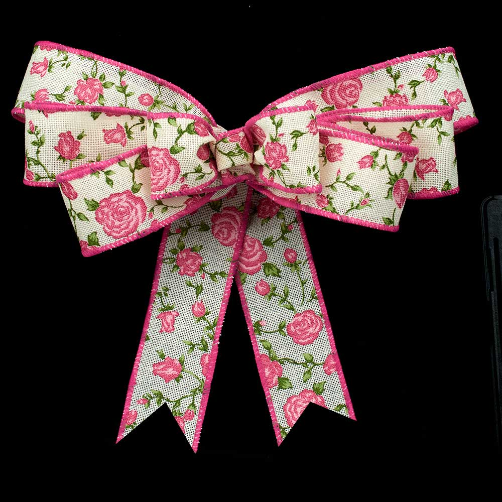 "2 1/2"" WIRED GARDEN ROSES RIBBON"