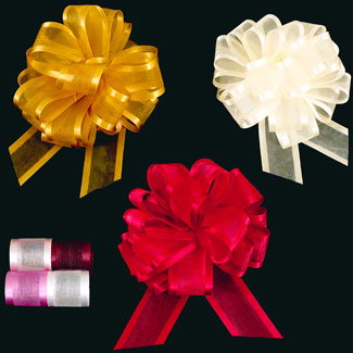 "4"" SATIN CHIFFON PULL BOWS RIBBON"
