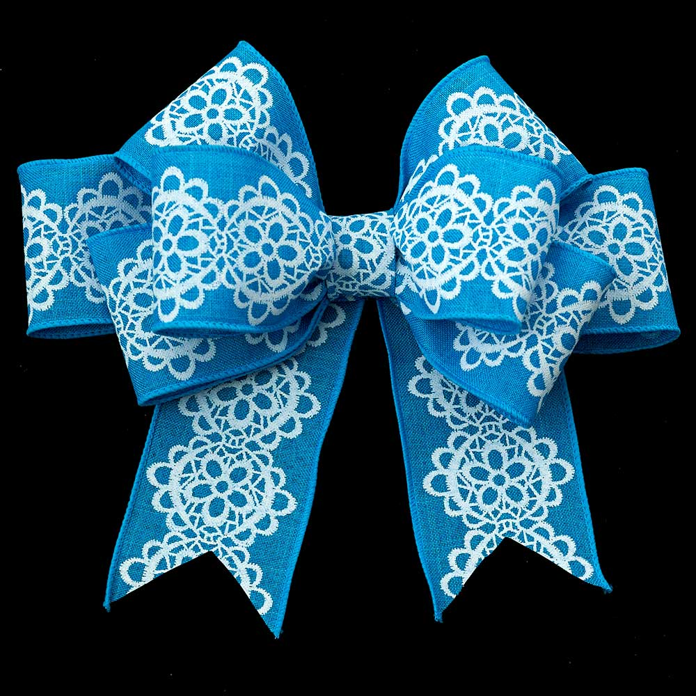"2 1/2"" WIRED LACE PRINT LIN RIBBON"
