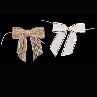 "3"" NATURAL PRE-TIED BOWS RIBBON"