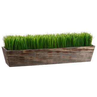 "24"" GRASS IN WOOD PLANTER"
