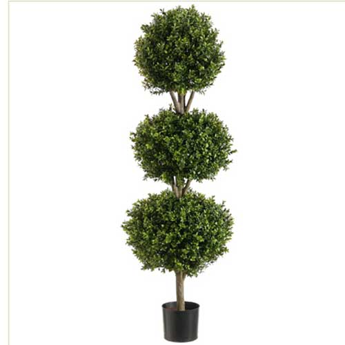 4' Triple Ball-Shaped Boxwood Topiary in Plastic