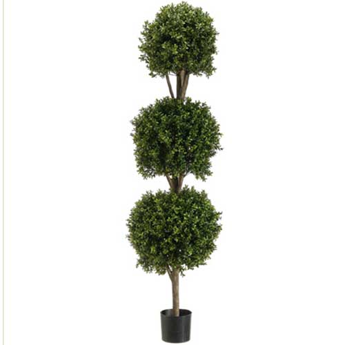 5' Triple Ball-Shaped Boxwood Topiary in Plastic