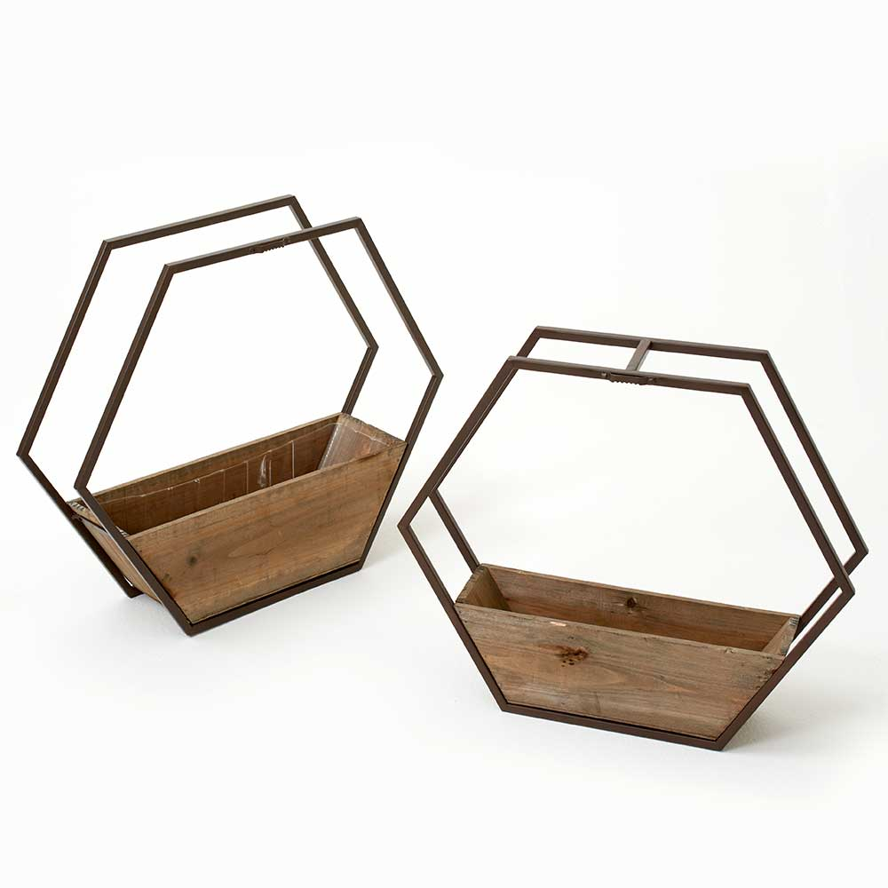 HEXAGON WOOD/METAL PLANTERS
