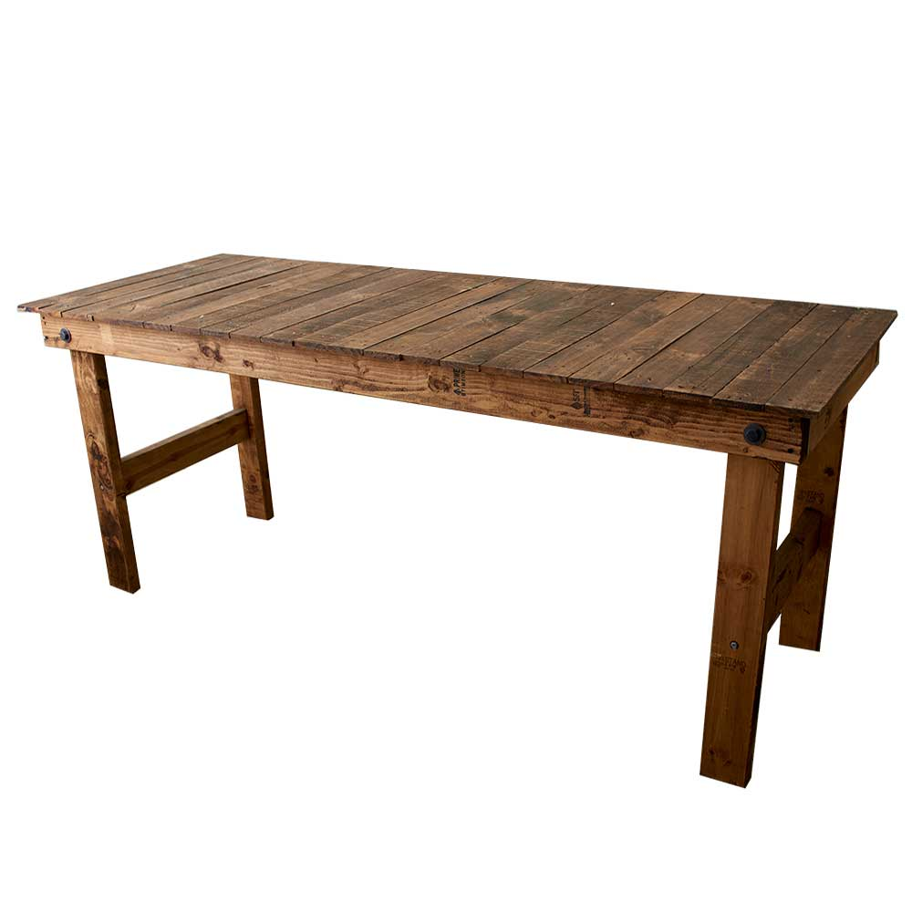 "72""X40"" RUSTIC TABLE, BROWN"