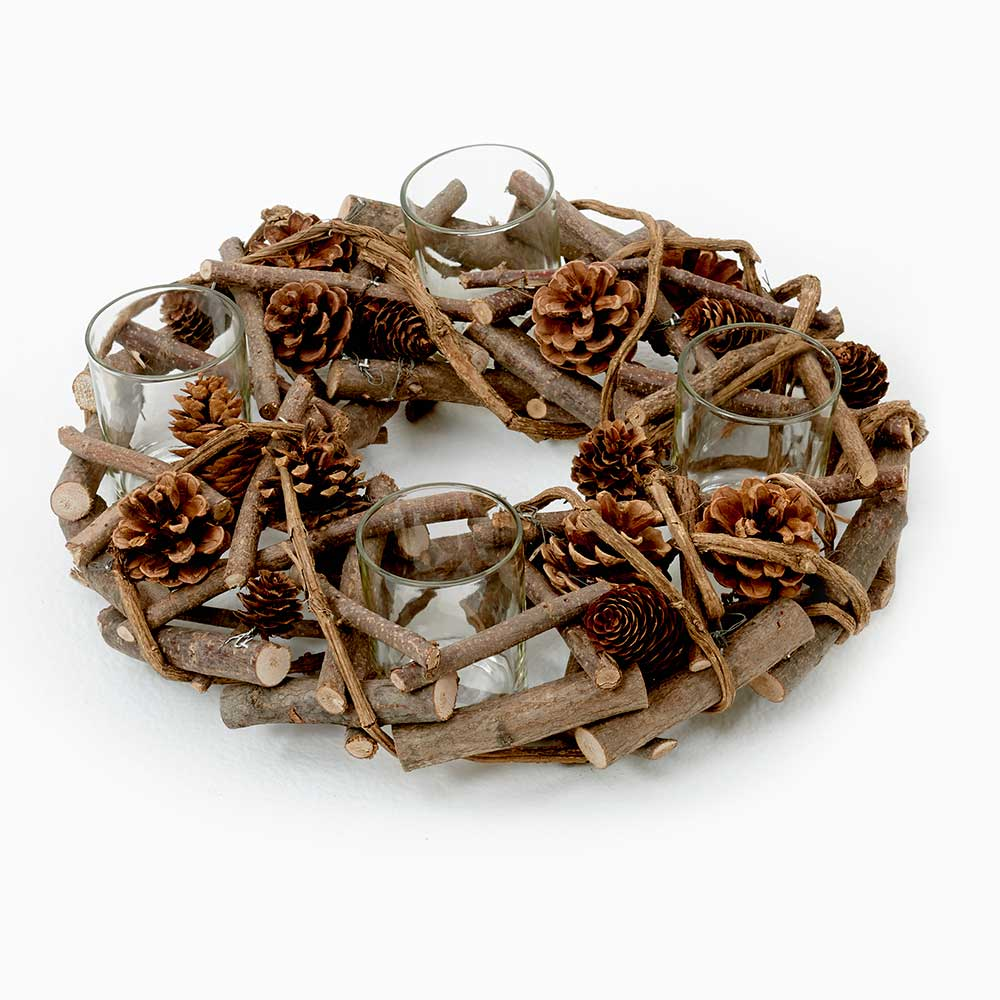NATURAL WREATH CANDLE HOL
