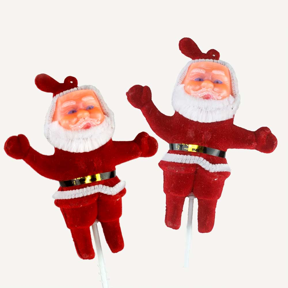 "4"" SANTAS WITH 4"" WIRE PICKS"