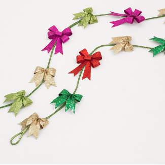 6' GLITTERED BOW GARLAND