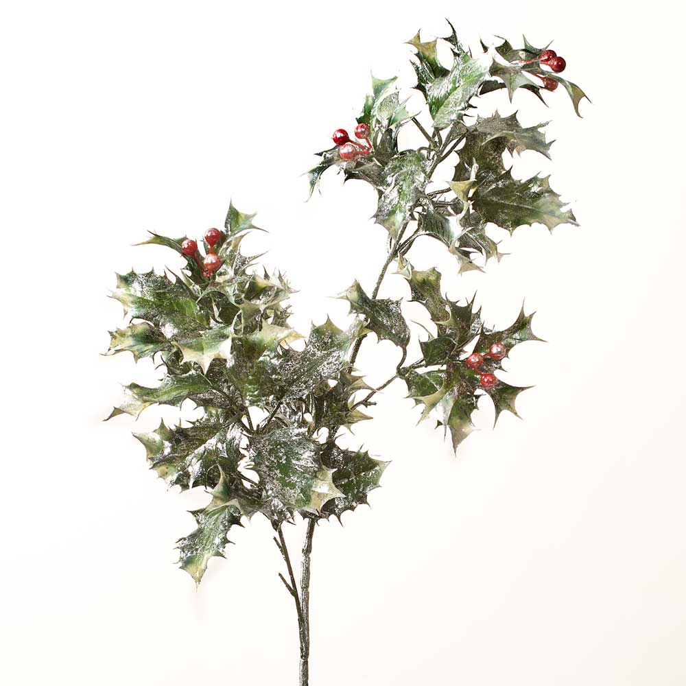 "30"" SILVER BRUSHED HOLLY SPRAY WITH   BERRIES"