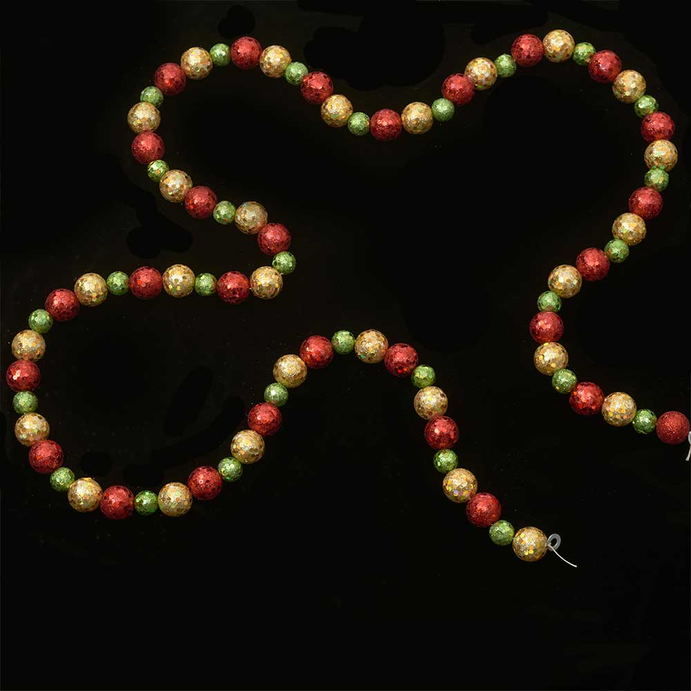 6' GLIT.BALL GARLAND,RED