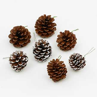NATURAL WIRED PINE CONES