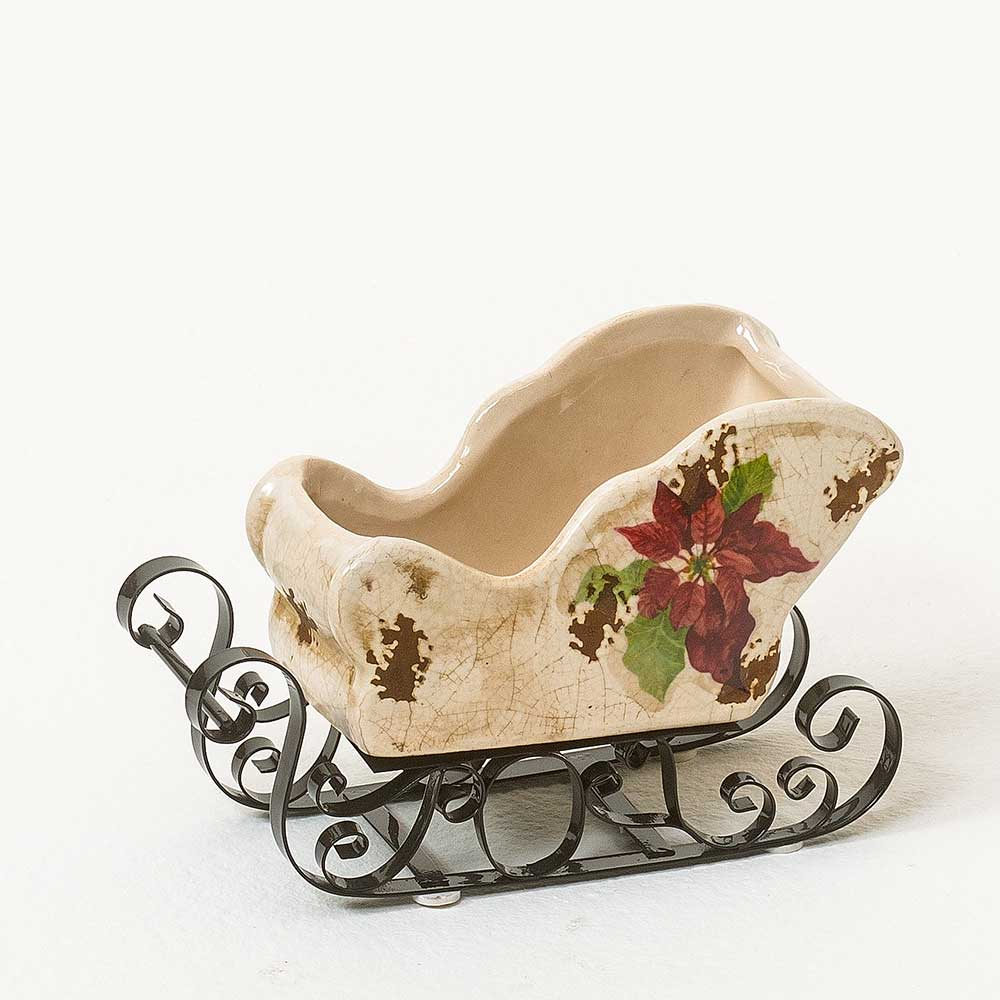 "6"" CERAMIC SLEIGH WITH METAL RUNNER"
