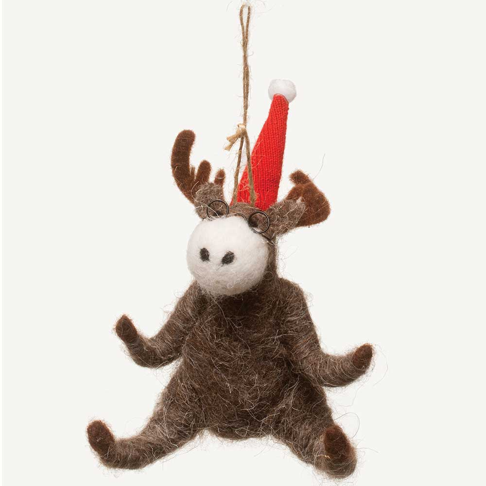 "6"" BENDABLE WOOL MOOSE ORN"