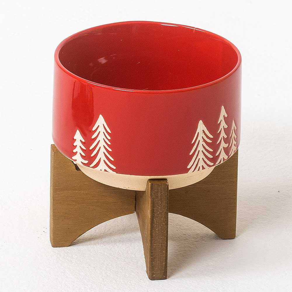 "4.75""XMAS POT W/STAND,RED"