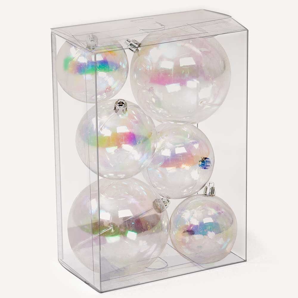 "2""-4"" ASSORTED SIZE BALL ORNAMENTS,   IRIDESCENT"