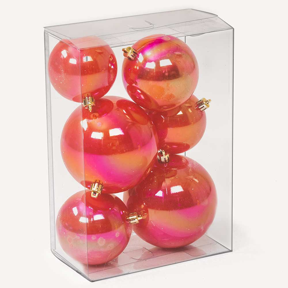 "2""-4"" ASSORTED SIZE BALL ORNAMENTS,   RED"