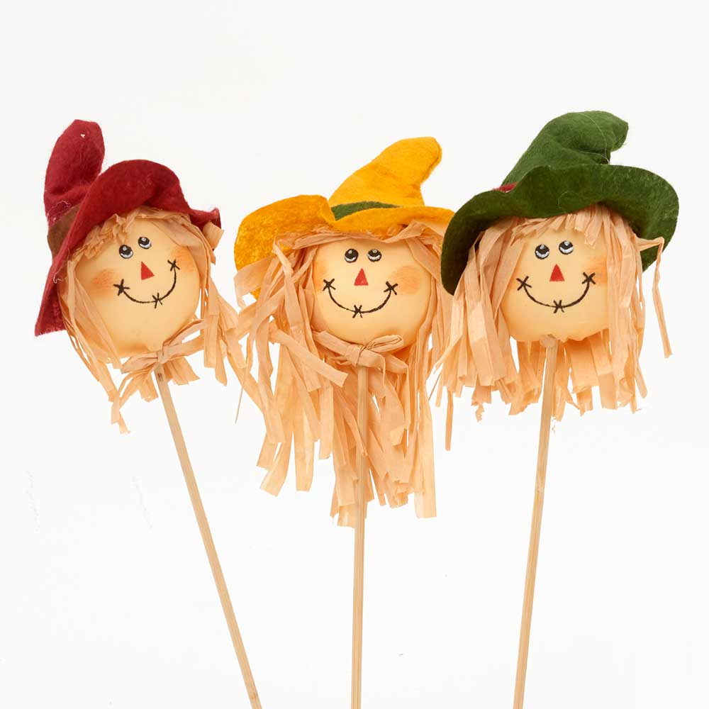 "4"" SCARECROW HEADS W/ 9""PICKS"