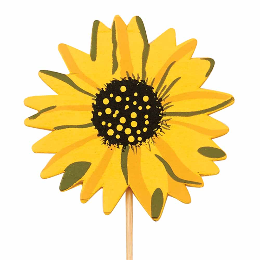 "3"" WOOD SUNFLOWER W/13.5""PICK"